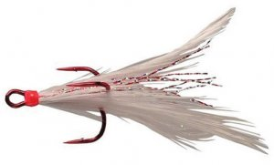 Feathered Treble Hook Size 2 White (Red Hook)